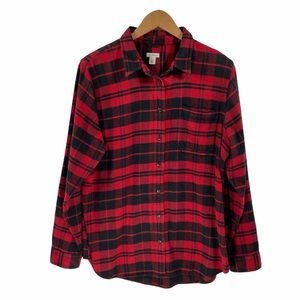 L.L.Bean Women's Organic Flannel Shirt Plaid L
